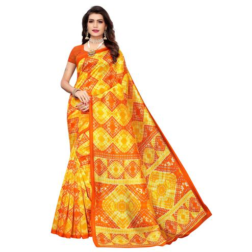 Glowing Yellow-Orange Colored Casual Printed Art Silk Saree