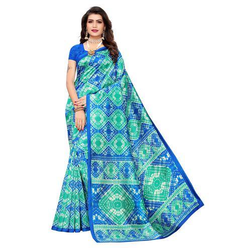 Gleaming Blue Colored Casual Printed Art Silk Saree