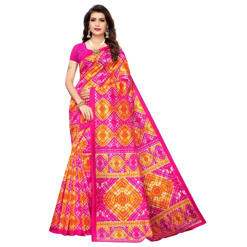 Mesmeric Pink-Orange Colored Casual Printed Art Silk Saree