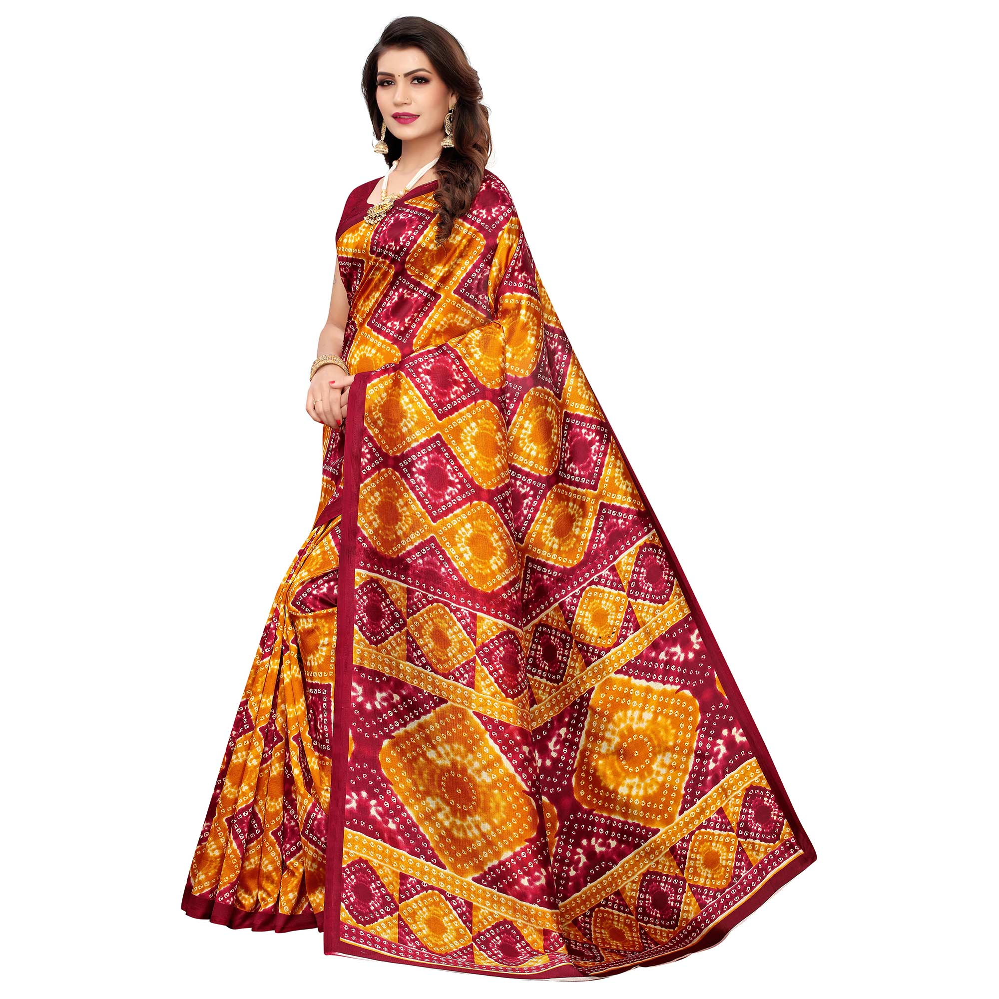 Refreshing Orange-Maroon Colored Casual Printed Art Silk Saree
