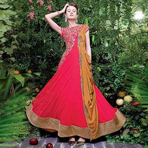 Red - Golden Party Wear Evening Gown
