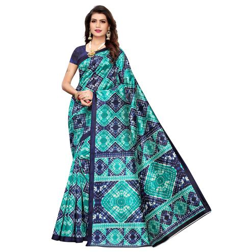 Flattering Aqua Blue Colored Casual Printed Art Silk Saree