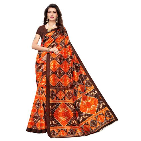Preferable Orange-Brown Colored Casual Printed Art Silk Saree