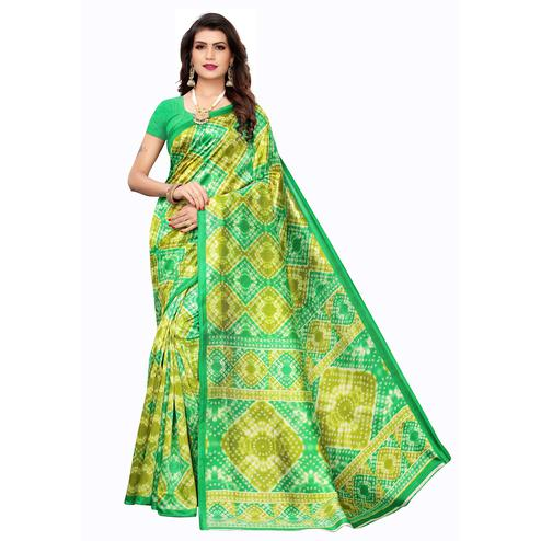 Flamboyant Green Colored Casual Printed Art Silk Saree