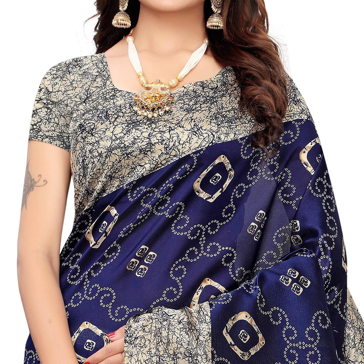 Breathtaking Navy Blue Colored Casual Printed Art Silk Saree