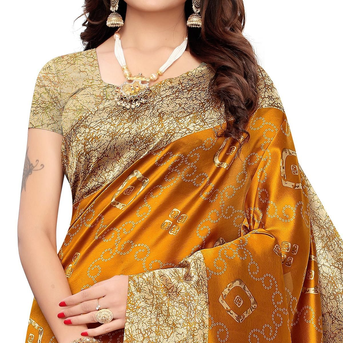 Pleasance Mustard Yellow Colored Casual Printed Art Silk Saree