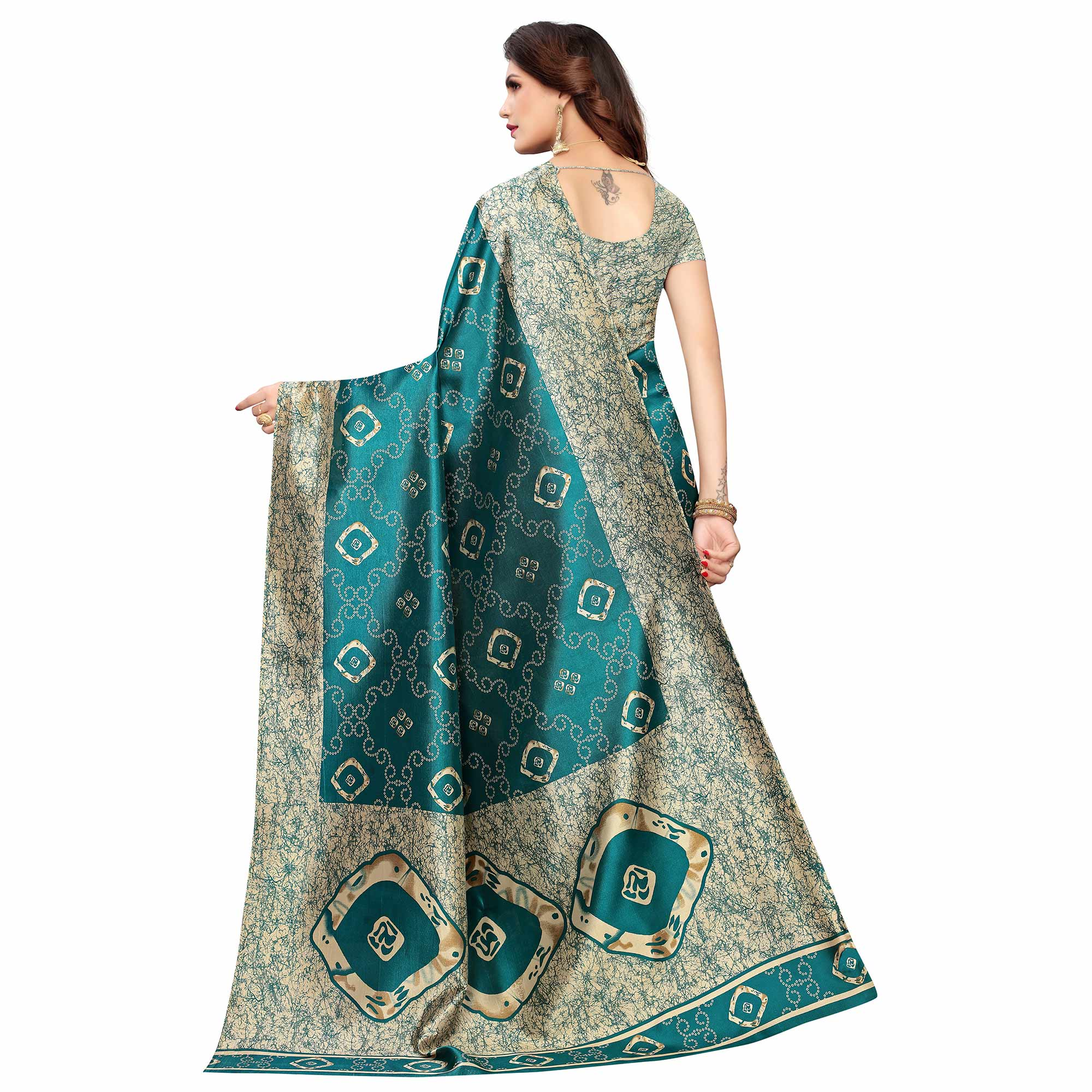 Lovely Turquoise Green Colored Casual Printed Art Silk Saree