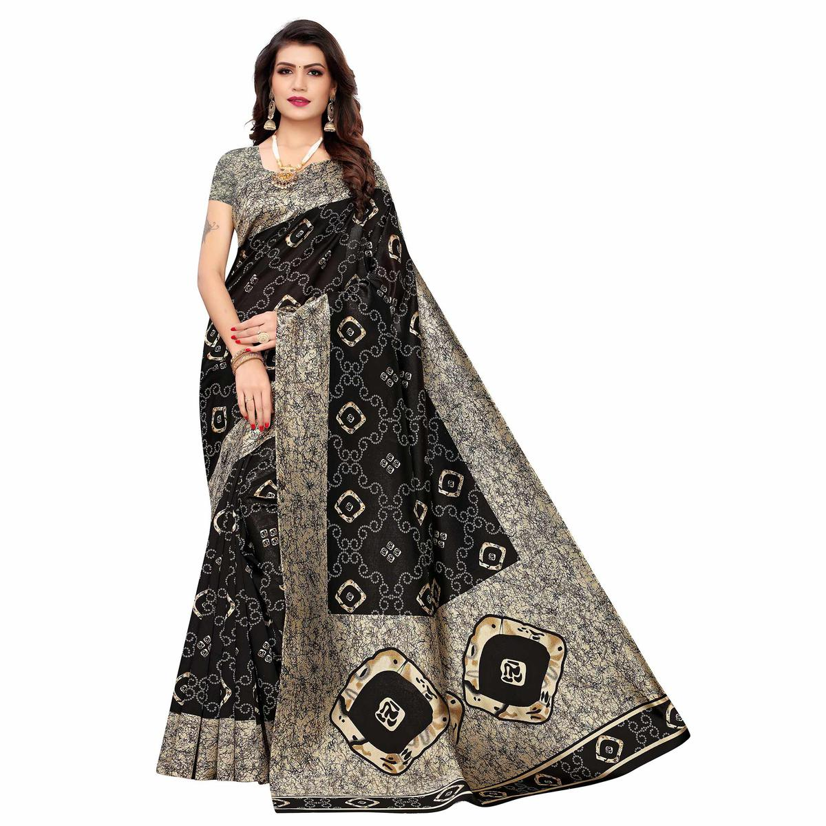 Ideal Black Colored Casual Printed Art Silk Saree