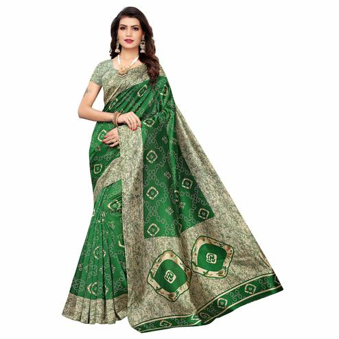 Gorgeous Green Colored Casual Printed Art Silk Saree