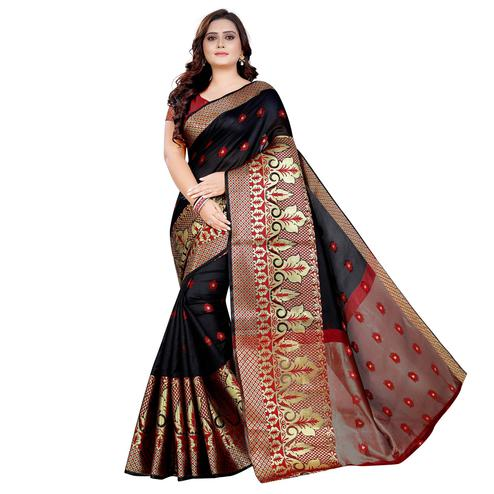 Intricate Black Colored Festive Wear Woven Art Silk With Jacquard Border Saree