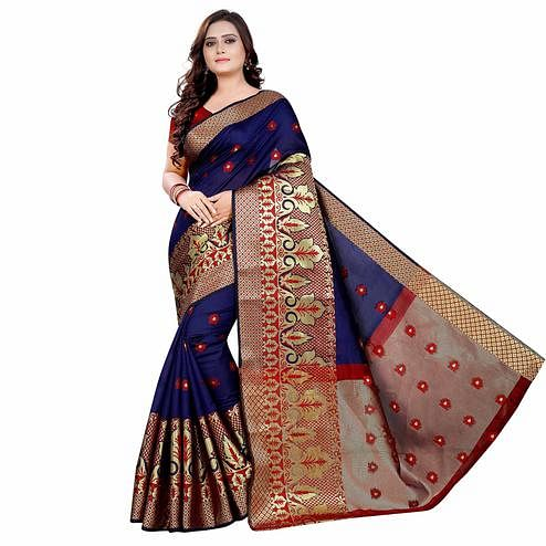 Arresting Navy Blue Colored Festive Wear Woven Art Silk With Jacquard Border Saree