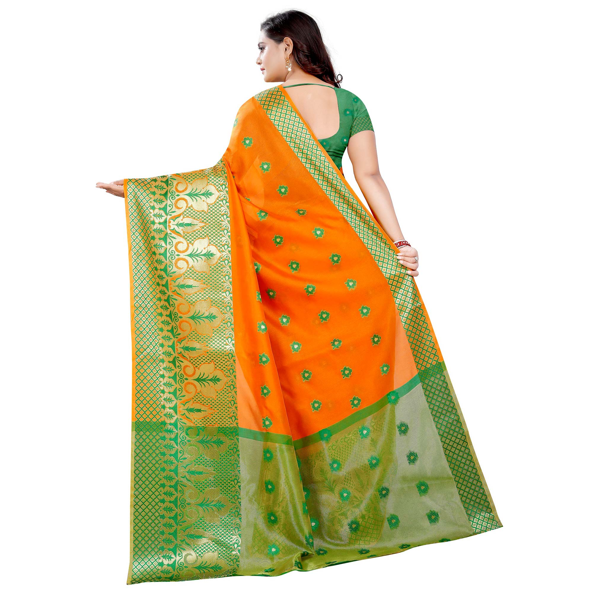 Desirable Orange Colored Festive Wear Woven Art Silk With Jacquard Border Saree