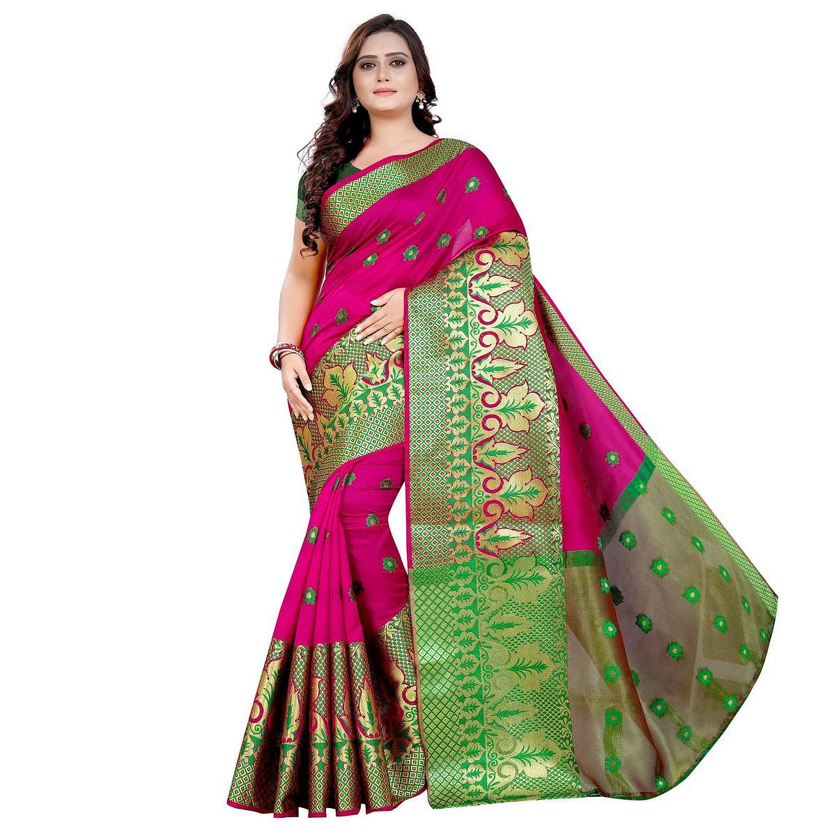 Exotic Pink Colored Festive Wear Woven Art Silk With Jacquard Border Saree