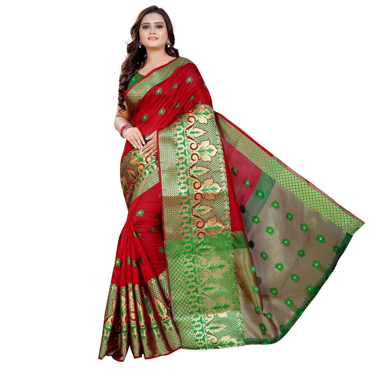 Trendy Red Colored Festive Wear Woven Art Silk With Jacquard Border Saree