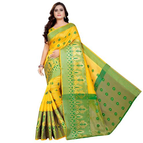 Elegant Yellow Colored Festive Wear Woven Art Silk With Jacquard Border Saree