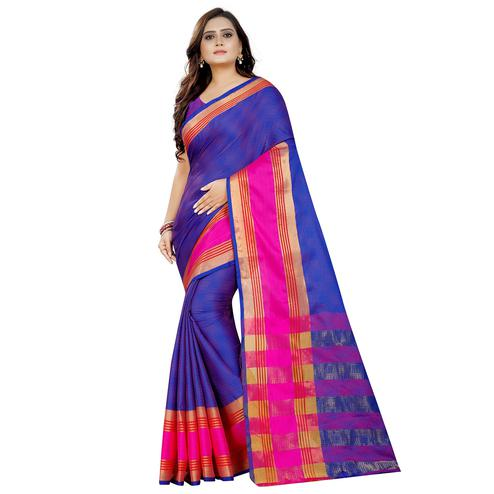 Radiant Violet Colored Festive Wear Woven Art Silk With Jacquard Border Saree