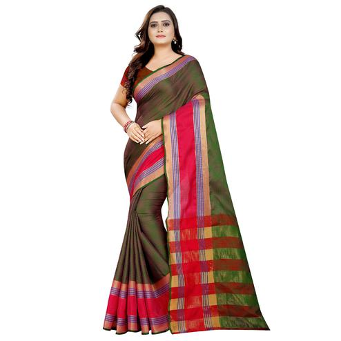 Pleasant Mehndi Green  Colored Festive Wear Woven Art Silk With Jacquard Border Saree