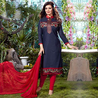 Navy Blue Casual Wear Straight Suit