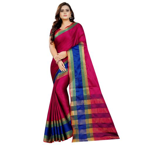 Exceptional Pink Colored Festive Wear Woven Art Silk With Jacquard Border Saree