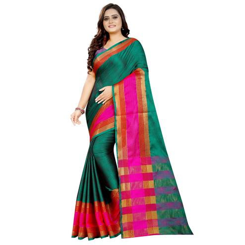 Gleaming Turquoise Green Colored Festive Wear Woven Art Silk With Jacquard Border Saree