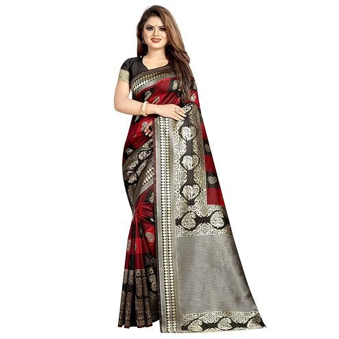 Mesmeric Maroon-Black Colored Festive Wear Woven Art Silk With Jacquard Border Saree