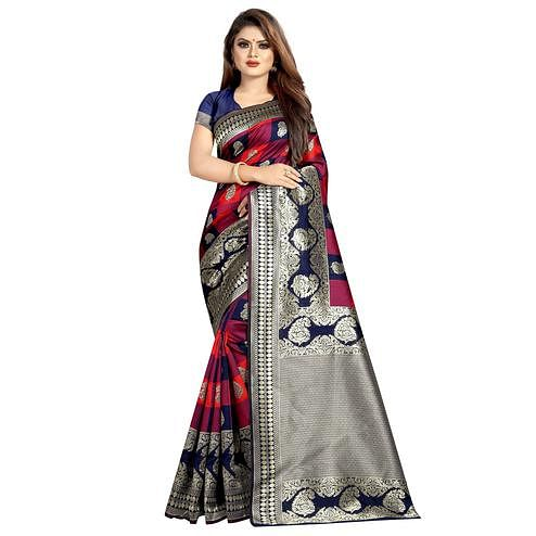 Unique Navy Blue-Multi Colored Festive Wear Woven Art Silk With Jacquard Border Saree