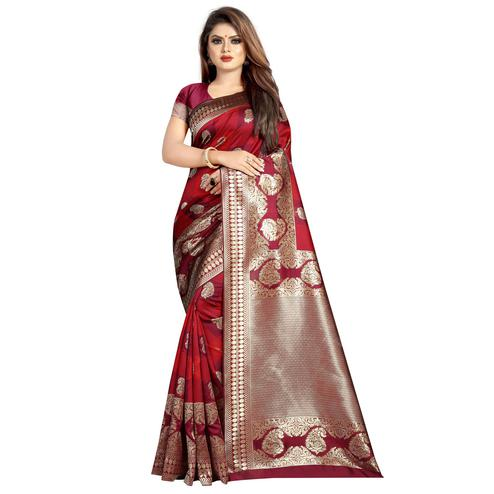 Demanding Red Colored Festive Wear Woven Art Silk With Jacquard Border Saree