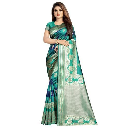 Refreshing Turquoise Green Colored Festive Wear Woven Art Silk With Jacquard Border Saree