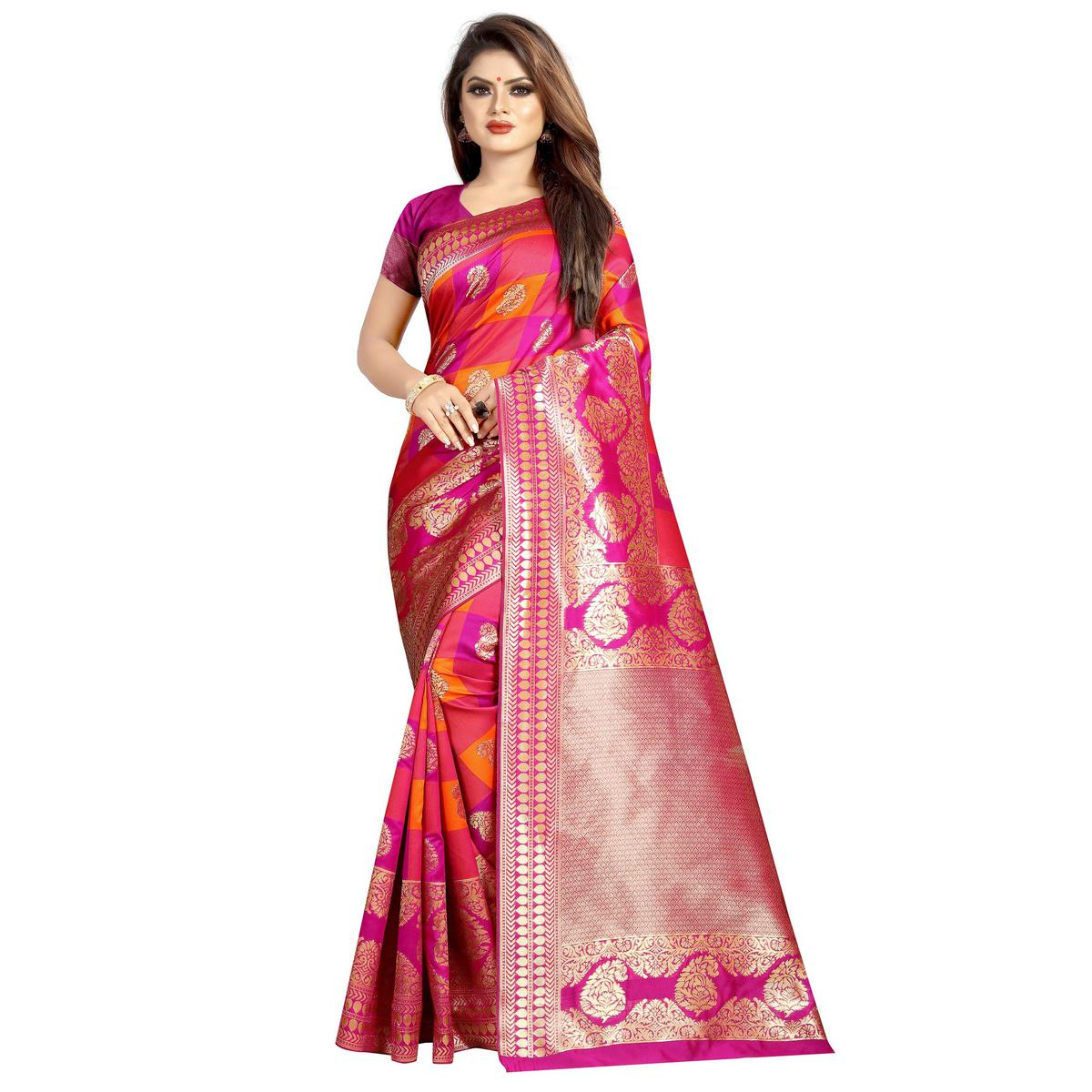Magnetic Pink Colored Festive Wear Woven Art Silk With Jacquard Border Saree