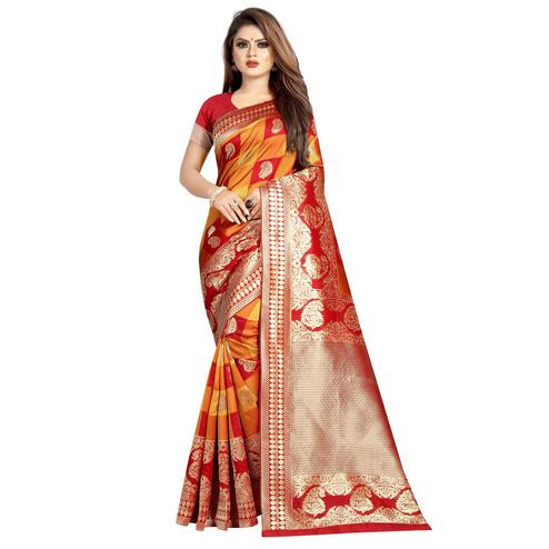 Hypnotic Red-Yellow Colored Festive Wear Woven Art Silk With Jacquard Border Saree