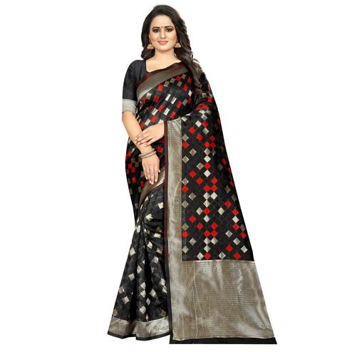 Flattering Black Colored Festive Wear Woven Art Silk With Jacquard Border Saree