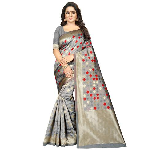 Excellent Grey Colored Festive Wear Woven Art Silk With Jacquard Border Saree