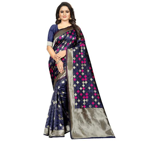 Preferable Navy Blue Colored Festive Wear Woven Art Silk With Jacquard Border Saree
