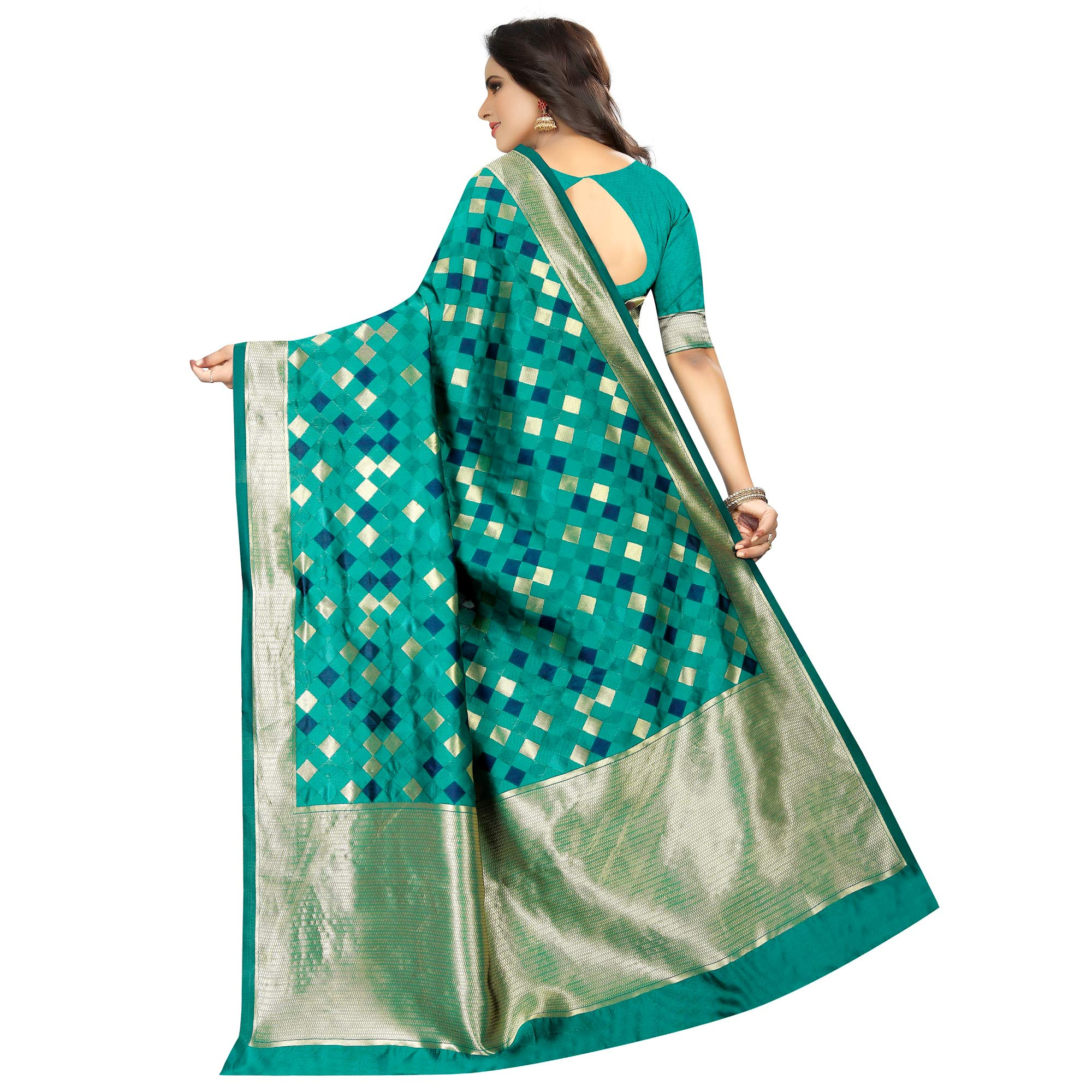 Marvellous Turquoise Green Colored Festive Wear Woven Art Silk With Jacquard Border Saree