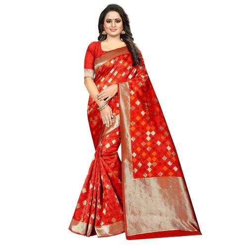 Pretty Red Colored Festive Wear Woven Art Silk With Jacquard Border Saree