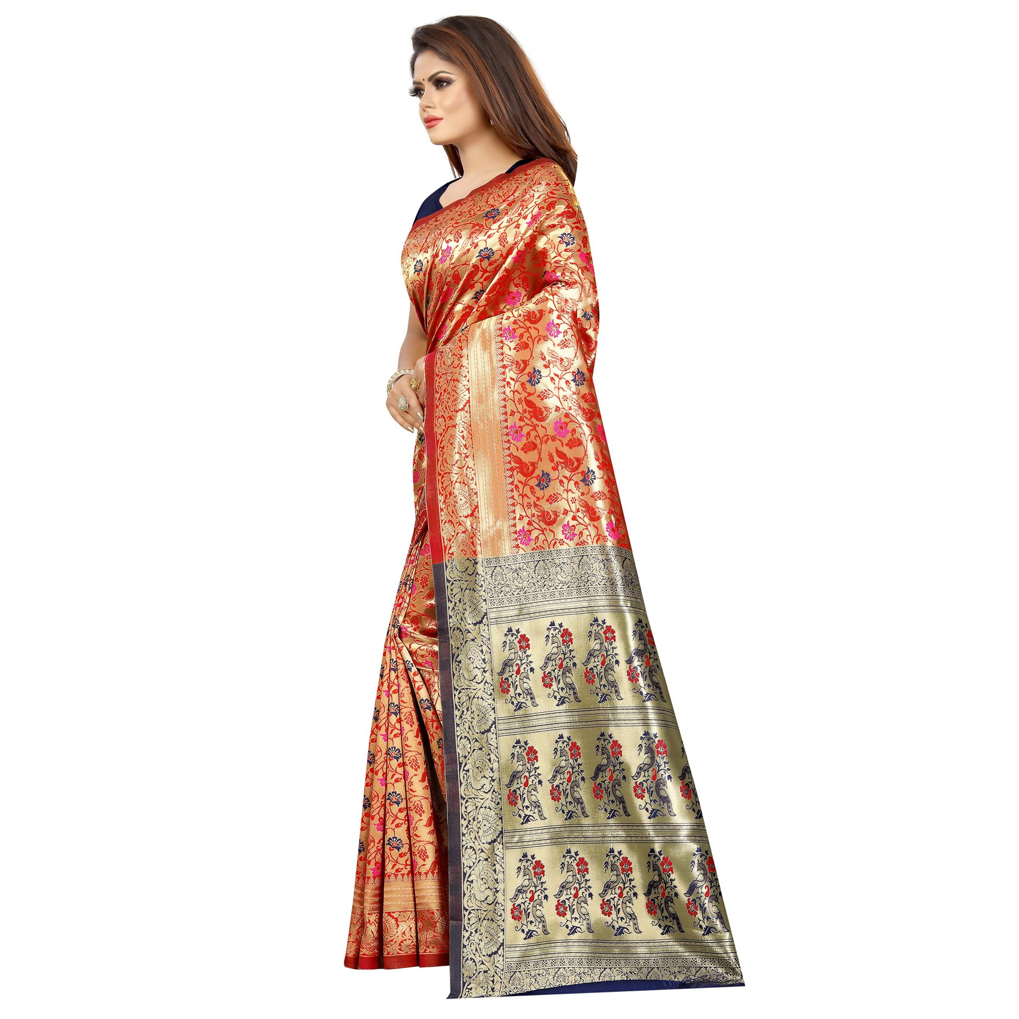 Alluring Peach Colored Festive Wear Woven Art Silk With Jacquard Border Saree