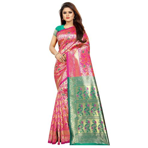 Sensational Pink Colored Festive Wear Woven Art Silk With Jacquard Border Saree