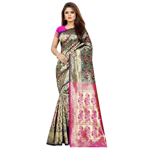 Flaunt Beige Colored Festive Wear Woven Art Silk With Jacquard Border Saree