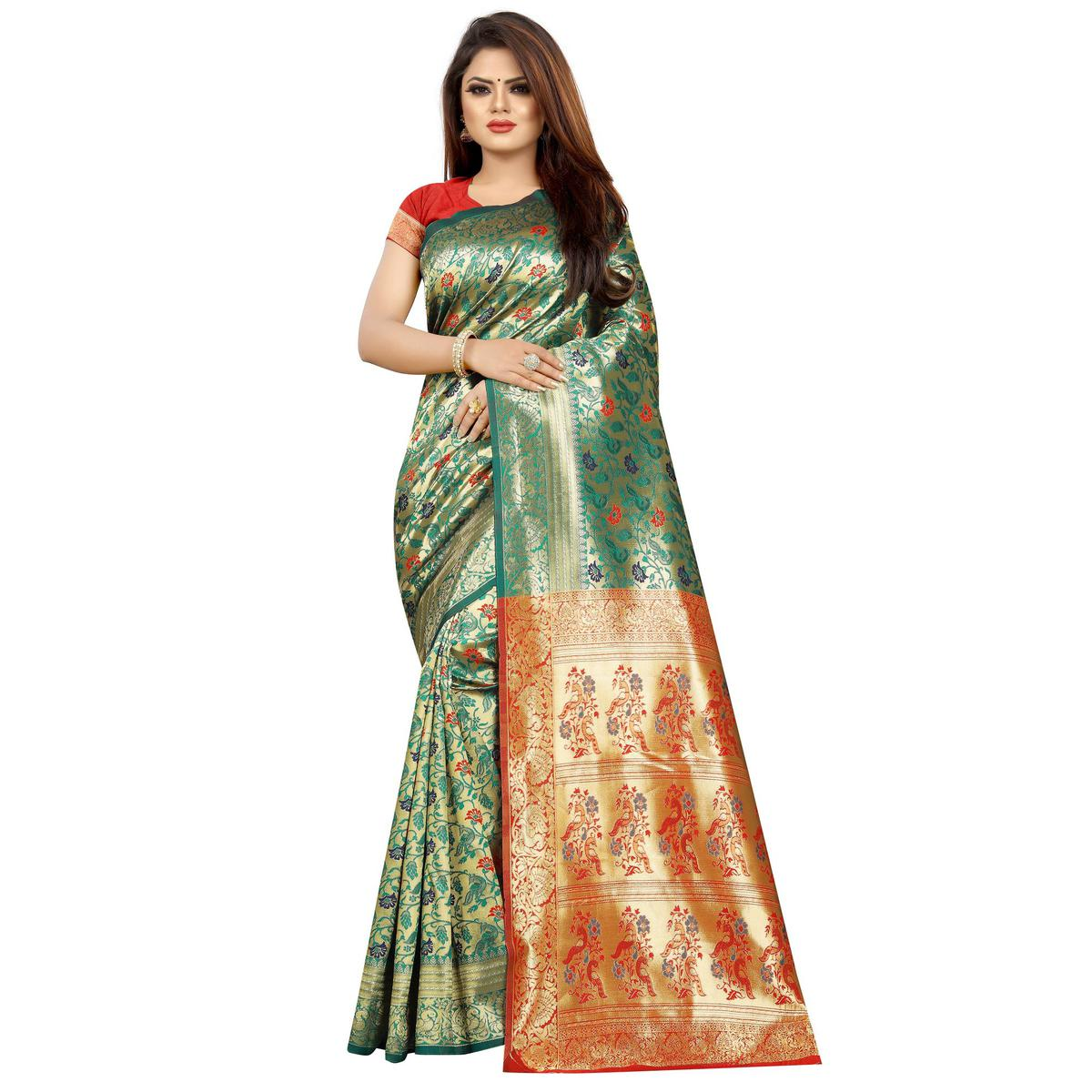 Stunning Turquoise Green Colored Festive Wear Woven Art Silk With Jacquard Border Saree