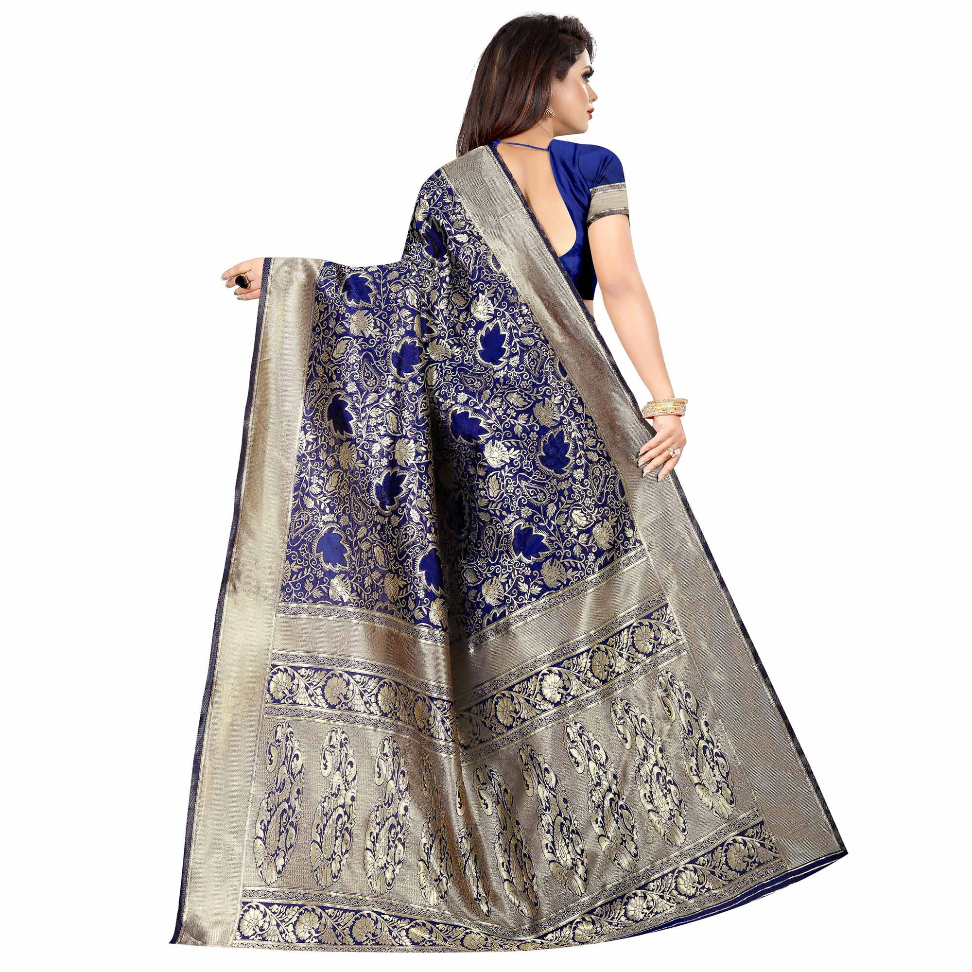 Flirty Navy Blue Colored Festive Wear Woven Art Silk With Jacquard Border Saree