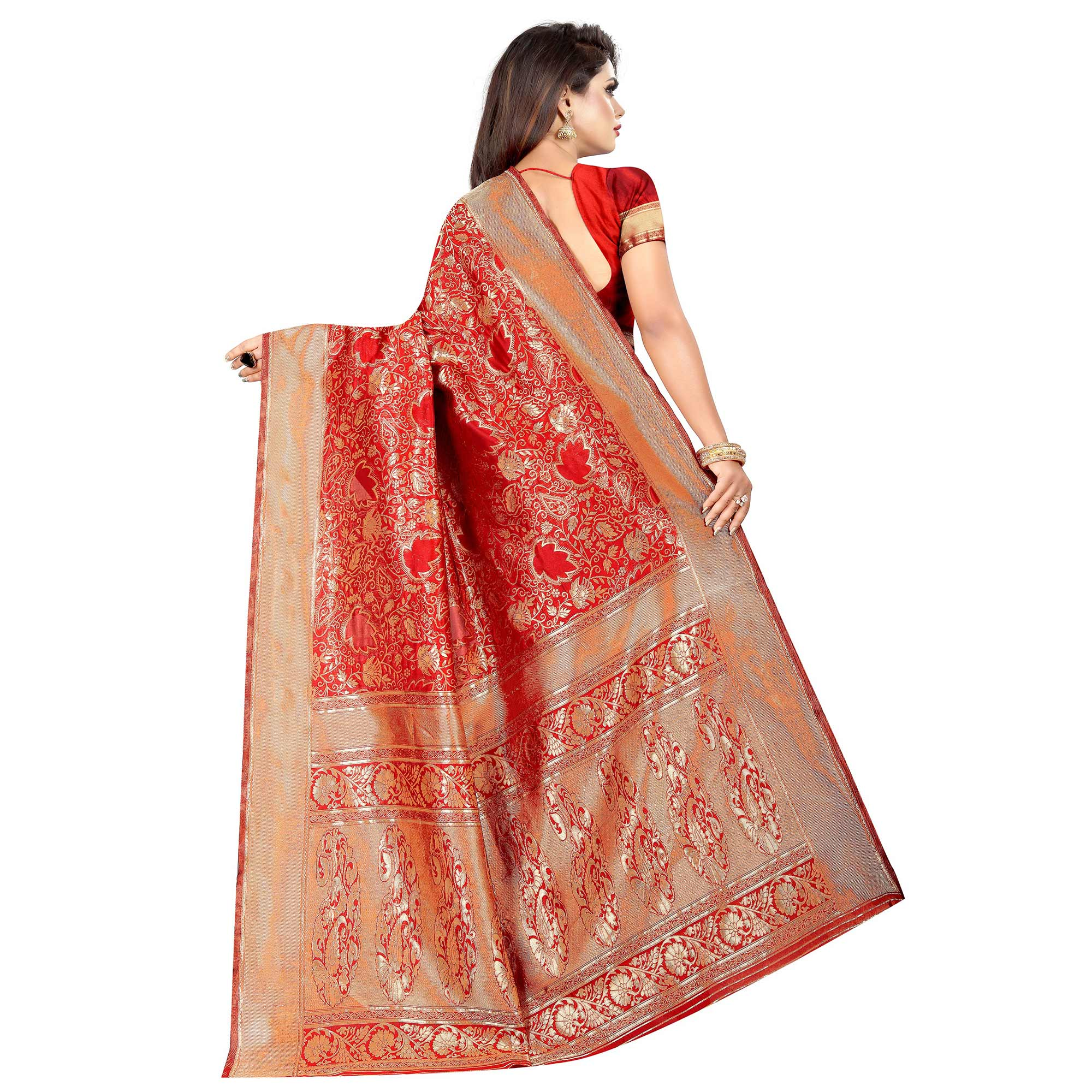 Classy Red Colored Festive Wear Woven Art Silk With Jacquard Border Saree