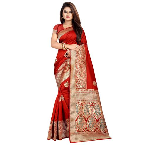 Red Colored Festive Wear Woven Art Silk With Jacquard Border Saree