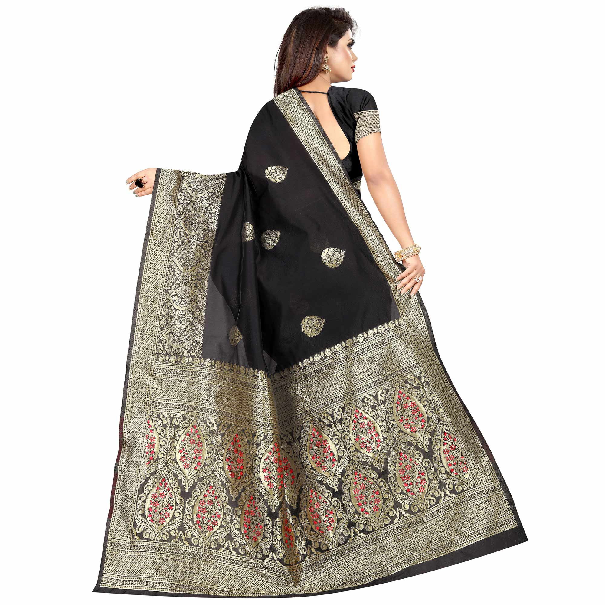 Prominent Black Colored Festive Wear Woven Art Silk With Jacquard Border Saree