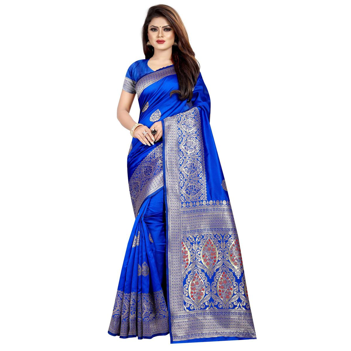 Appealing Royal Blue Colored Festive Wear Woven Art Silk With Jacquard Border Saree