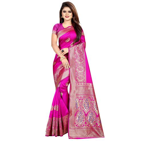 Capricious Rani Pink Colored Festive Wear Woven Art Silk With Jacquard Border Saree