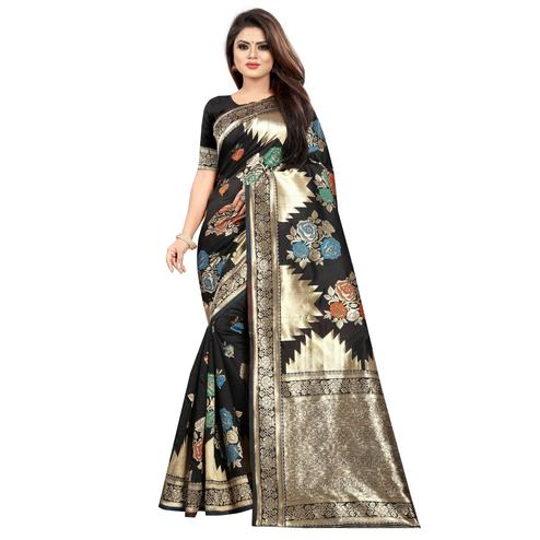 Entrancing Black Colored Festive Wear Woven Art Silk With Jacquard Border Saree