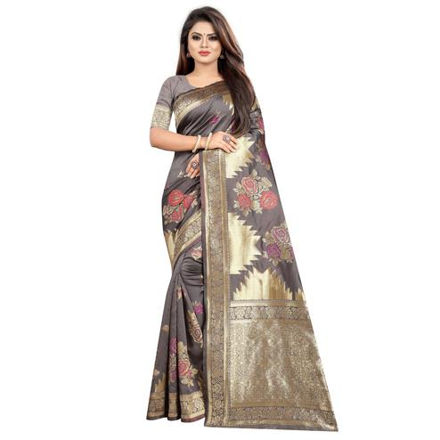 Groovy Light Grey Colored Festive Wear Woven Art Silk With Jacquard Border Saree