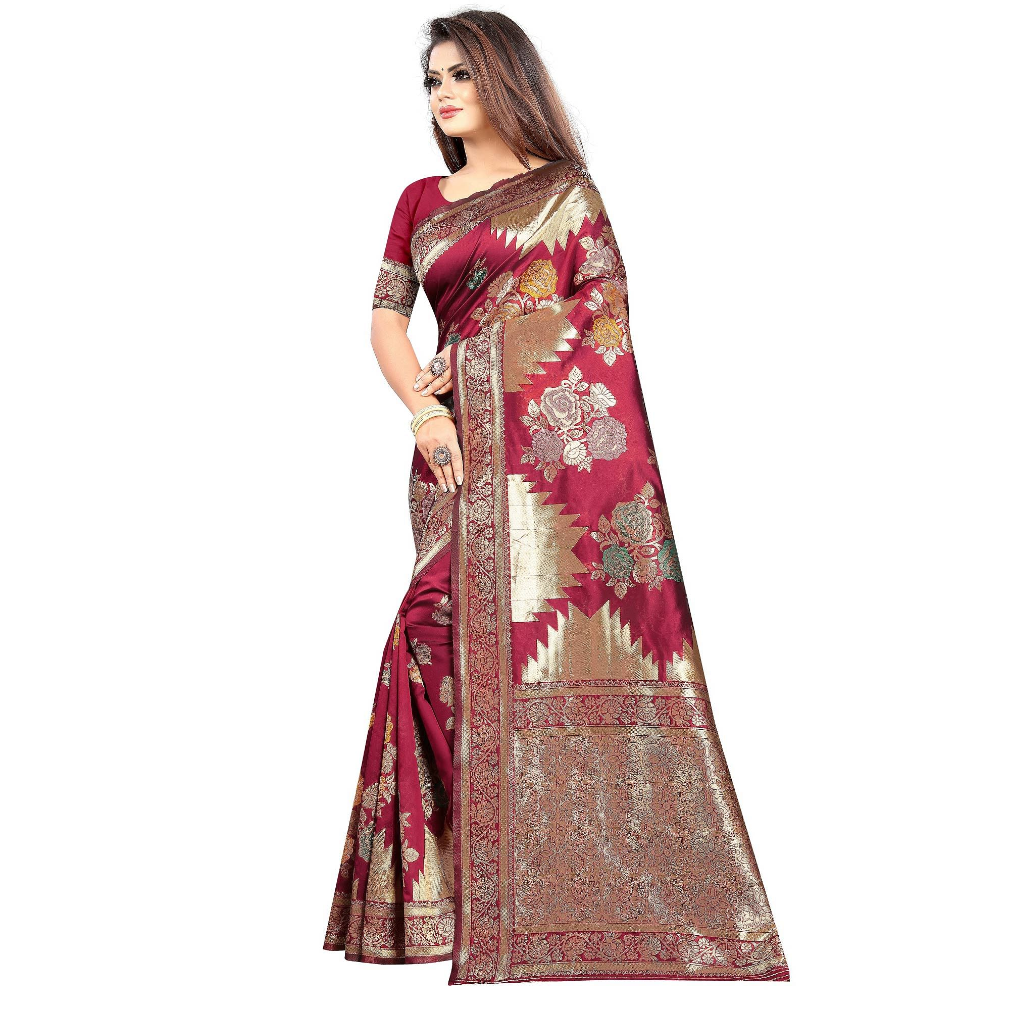 Adorning Dark Pink Colored Festive Wear Woven Art Silk With Jacquard Border Saree