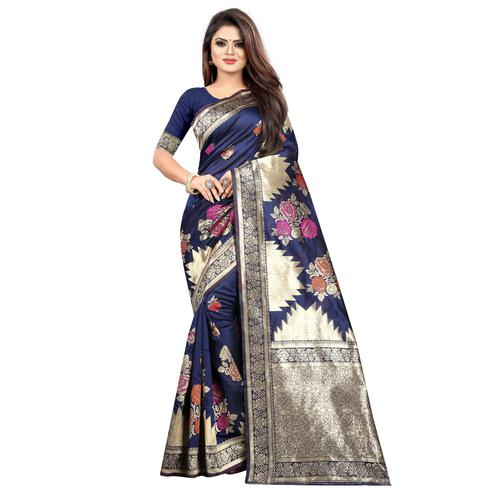 Exclusive Navy Blue Colored Festive Wear Woven Art Silk With Jacquard Border Saree