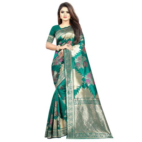 Jazzy Turquoise Green Colored Festive Wear Woven Art Silk With Jacquard Border Saree